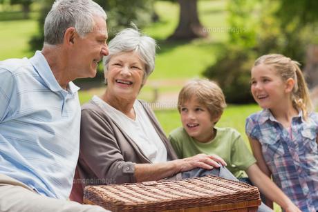 Smiling senior couple and grandchildren at park FYI00000144