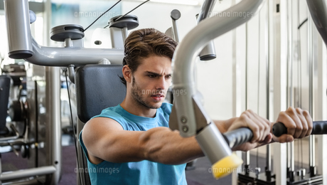 Focused man using weights machine for armsの素材 [FYI00002158]