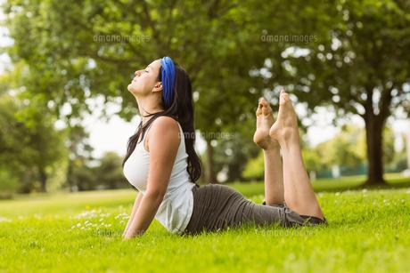 Calm brown hair doing yoga on grass FYI00003808