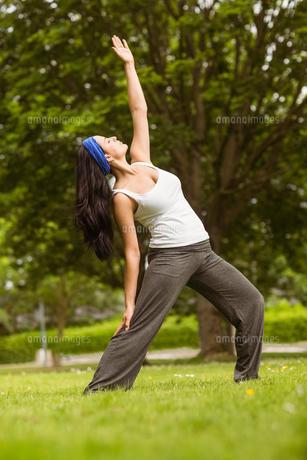 Cheerful brown hair doing yoga on grass FYI00003815