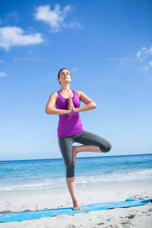 Brunette doing yoga on exercise mat FYI00006862