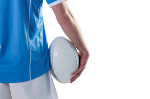 Rugby player holding a rugby ballの素材 [FYI00008657]