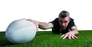 A rugby player scoring a try FYI00008681