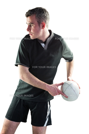 Rugby player doing a side passの素材 [FYI00008690]