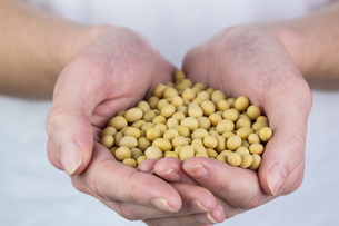 Woman showing handful of chickpeas FYI00009689