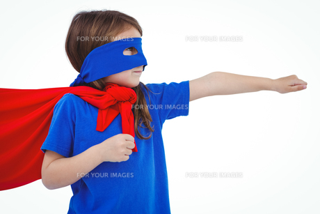 Masked girl pretending to be superhero FYI00009881