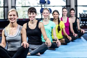 Fitness class doing yoga exercises FYI00010104