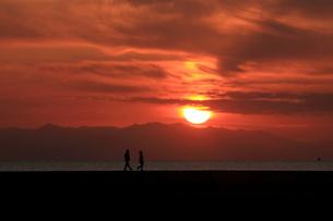 夕日の中を散歩している人 FYI00049259