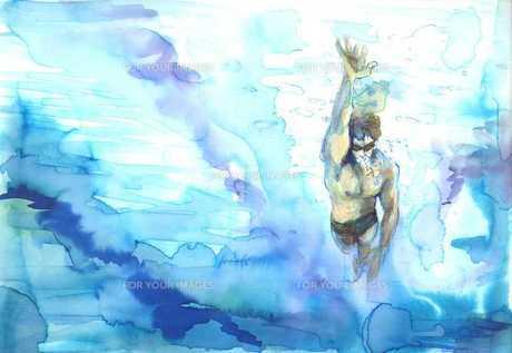 こちらに向かって泳いでくる水泳選手をプールの底から見上げる FYI00058255