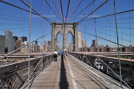 快晴のブルックリンブリッジとロワーマンハッタン FYI00059791