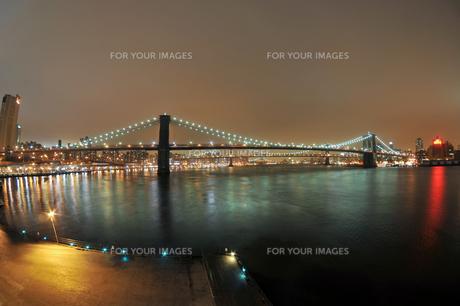 ブルックリンブリッジとマンハッタンブリッジの夜景 FYI00059861