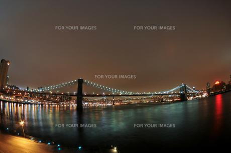 ブルックリンブリッジとマンハッタンブリッジの夜景 FYI00060427