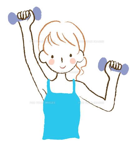 ダンベル体操する女性の素材 [FYI00075899]