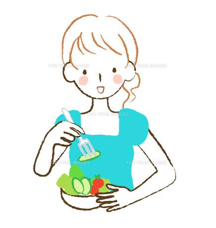 サラダを食べる女性の素材 [FYI00075905]