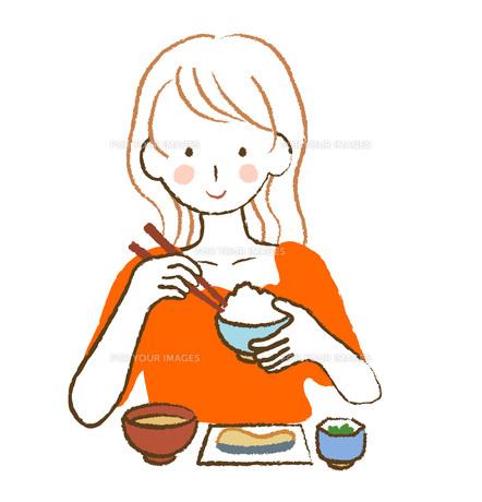 食事をする女性の素材 [FYI00076211]