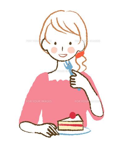 ケーキを食べる女性 FYI00076426