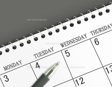 カレンダーとボールペン FYI00099433