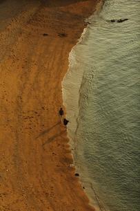 波打ち際を散歩する若いカップル FYI00105616