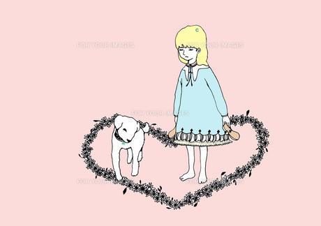 女の子と犬 カラー FYI00110548