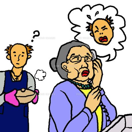 料理をする孫の前でその孫を語る電話を受ける高齢女性(振込詐欺)の素材 [FYI00112840]
