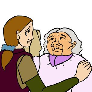 母が娘を判別出来ないために泣く娘とその涙を拭いてあげる高齢認知症の母親 FYI00112844