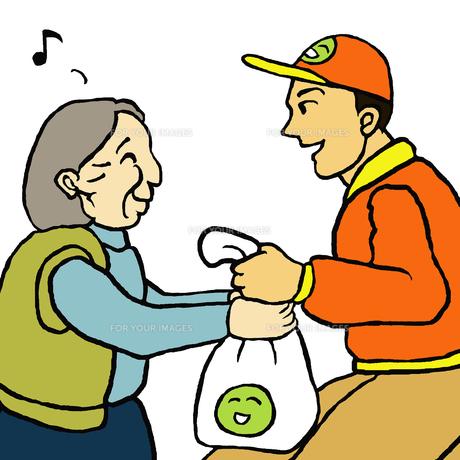 挨拶しながら配達する業者と自宅で商品を受取る高齢女性 FYI00112849