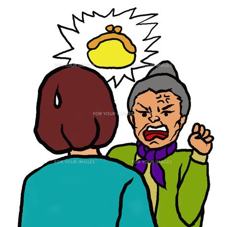 財布盗難を若い女性に訴える高齢者女性(物盗られ妄想)の素材 [FYI00112852]