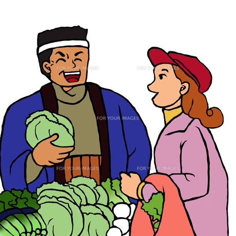 産直野菜を売る男性と買物をする若い女性の素材 [FYI00112871]