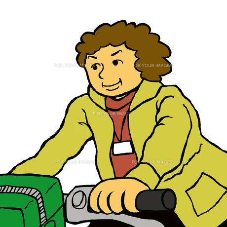 自転車に乗り利用者宅に向かう介護・福祉専門職 FYI00112875