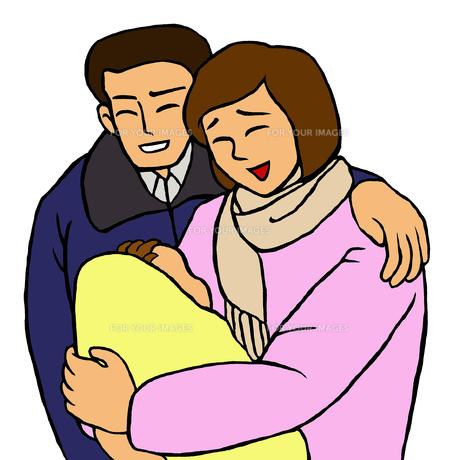 赤ちゃんを抱っこする笑顔の若い夫婦の素材 [FYI00112883]