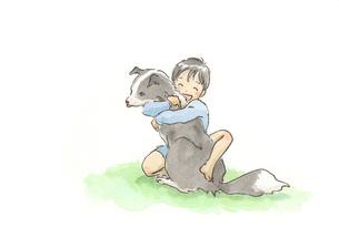 犬に抱きつく男の子 FYI00116745