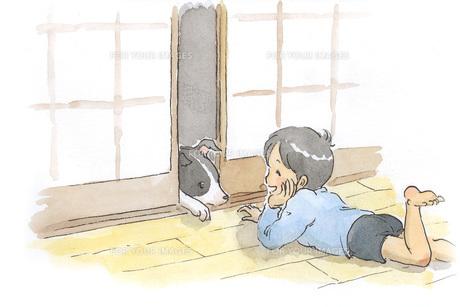 障子越しに遊ぶ犬と男の子 FYI00116747