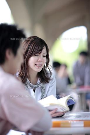 教科書を見て勉強する女子学生 FYI00118368
