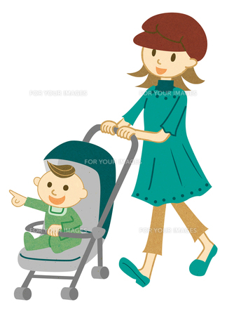 ベビーカーを押して散歩する女性 FYI00125956