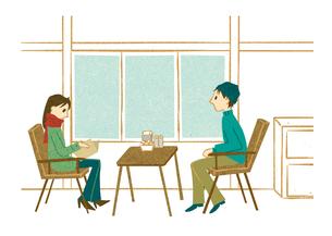 カフェで向き合って座る男女 FYI00125968