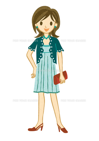 青いドレスを着た女性 FYI00125996