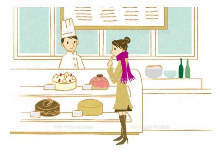 ケーキショップで買い物する女性 FYI00125997