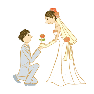 新婦にプロポーズする新郎 FYI00126002
