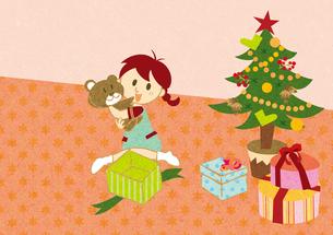 クリスマスプレゼントを開ける女の子 FYI00126010