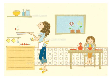 ダイニングキッチンで料理する女性と子供 FYI00126016