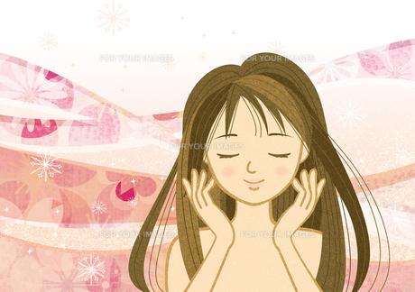 目を閉じて顔に手を添える女性2の素材 [FYI00126032]