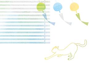 風になびく風鈴と猫 FYI00126036