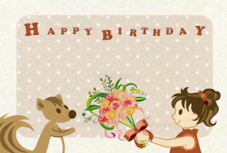 女の子とリス・誕生日 FYI00126061