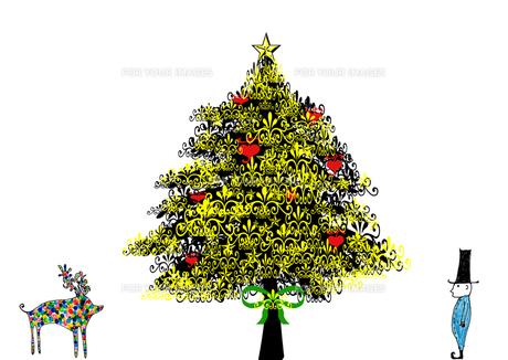 モミの木の下でカラフルなトナカイに出会う子供 FYI00128939