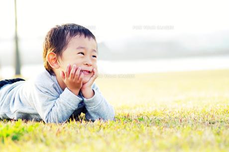芝生で微笑む男の子 FYI00134569