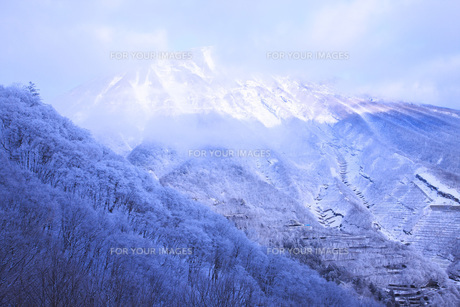早朝の日光男体山雪景色 FYI00166093