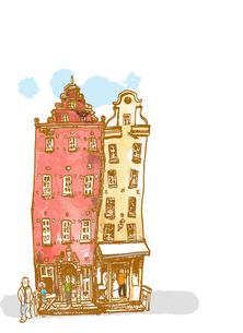 赤レンガ色と黄土色の建物 FYI00172209