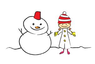 雪だるまと女の子 FYI00189991