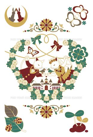 猫と鳥のカップル結婚式イラスト4色 Fyi00224475 気軽に使える写真