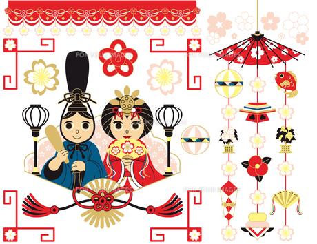 3月3日桃の節句雛祭り用イラストカットデザインイメージ素材カラフル